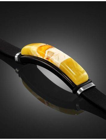 Rubber Metal Wristband With Amber Mosaic The Grunge, image , picture 2