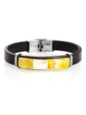Rubber Metal Wristband With Amber Mosaic The Grunge, image