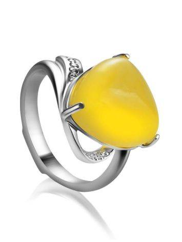 Honey Amber Ring In Sterling Silver The Acapulco, Ring Size: 5.5 / 16, image