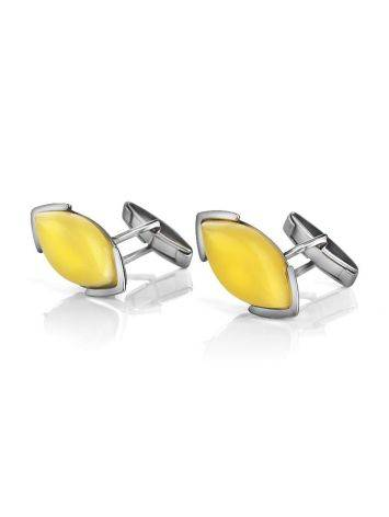 Amber Cufflinks In Sterling Silver The Petal, image