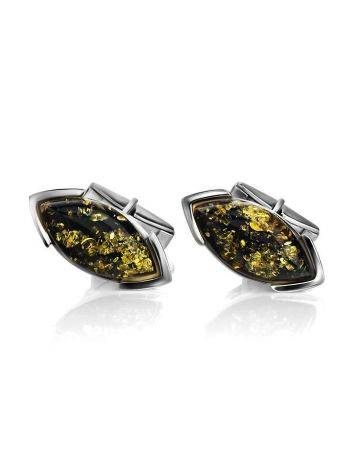 Sterling Silver Cufflinks With Leaf Cut Amber The Petal, image