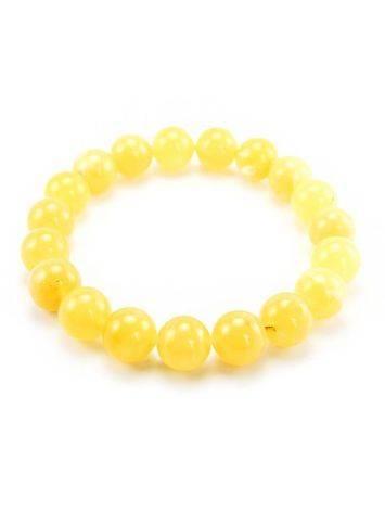 Honey Amber Ball Beaded Stretch Bracelet, image