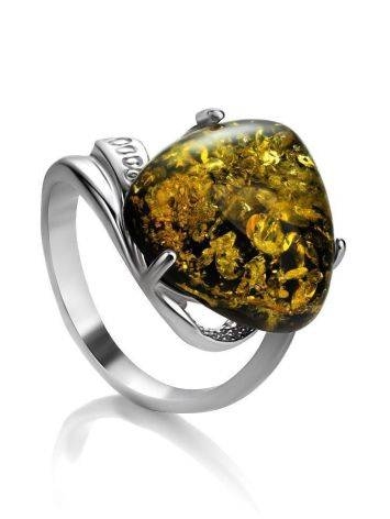 Green Amber Ring In Sterling Silver The Acapulco, Ring Size: 5.5 / 16, image