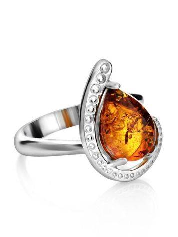 Sterling Silver Ring With Cognac Amber The Acapulco, Ring Size: 10 / 20, image