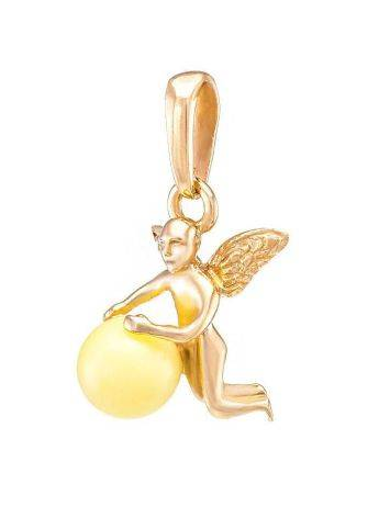 Golden Pendant With White Amber The Angel, image