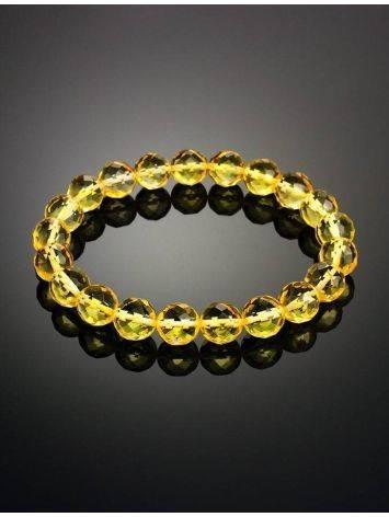 Faceted Lemon Amber Ball Beaded Bracelet The Prague, image , picture 2