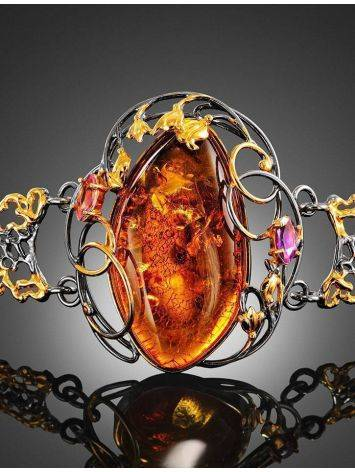 Gold Plated Bracelet With Amber And Crystals The Triumph, image , picture 2