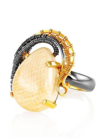 Gorgeous Gold-Plated Ring With Drop Cut Mammoth Tusk The Era, Ring Size: Adjustable, image , picture 3