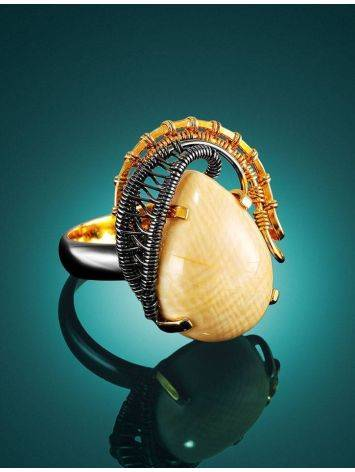 Gorgeous Gold-Plated Ring With Drop Cut Mammoth Tusk The Era, Ring Size: Adjustable, image , picture 2