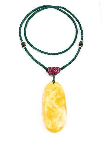 Honey Amber Pendant On Braided Cord The Beijing, image , picture 3