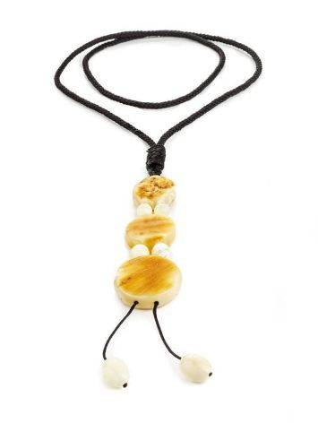 White Amber Necklace With Textile Cord The Indonesia, image , picture 3