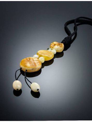 White Amber Necklace With Textile Cord The Indonesia, image , picture 2