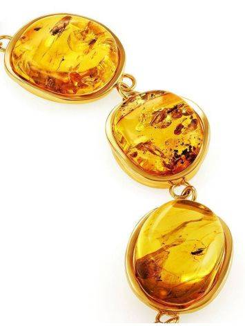 Link Amber Bracelet In Gold Plated Silver With Inclusions The Clio, image , picture 8