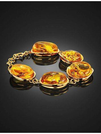 Link Amber Bracelet In Gold Plated Silver With Inclusions The Clio, image , picture 4