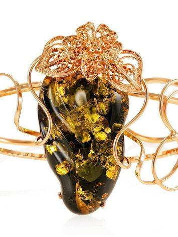 Handcrafted Amber Cuff Bracelet In Gold-Plated Sterling Silver The Dew, image , picture 3