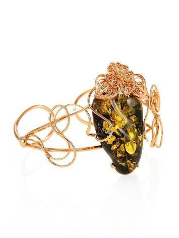 Handcrafted Amber Cuff Bracelet In Gold-Plated Sterling Silver The Dew, image , picture 4