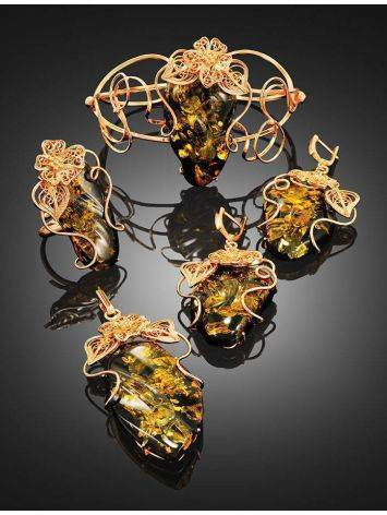 Handcrafted Amber Cuff Bracelet In Gold-Plated Sterling Silver The Dew, image , picture 5
