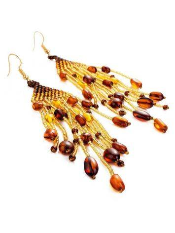 Braided Earrings With Cognac Amber And Yellowish Glass Beads The Fable, image , picture 4