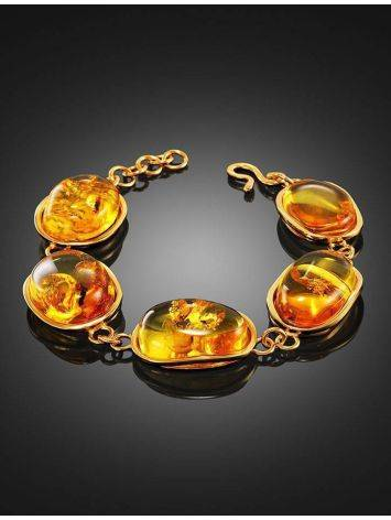 Link Amber Bracelet In Gold Plated Silver With Inclusions The Clio, image , picture 2