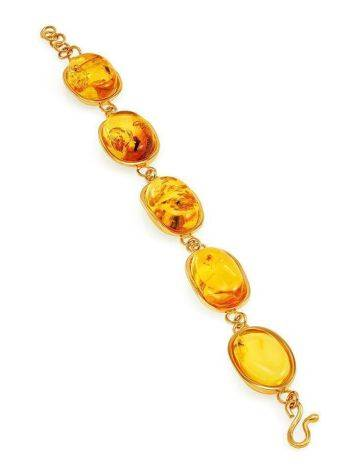 Link Amber Bracelet In Gold Plated Silver With Inclusions The Clio, image , picture 7