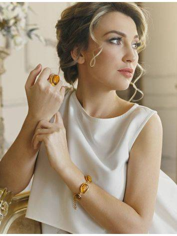 Link Amber Bracelet In Gold Plated Silver With Inclusions The Clio, image , picture 3