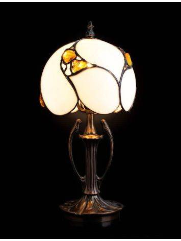 Cognac Amber Table Lamp With Brass, image , picture 2