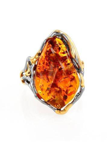 Gold-Plated Cocktail Ring With Cognac Amber The Triumph, Ring Size: Adjustable, image , picture 3