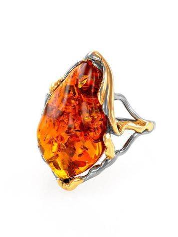 Gold-Plated Cocktail Ring With Cognac Amber The Triumph, Ring Size: Adjustable, image , picture 4