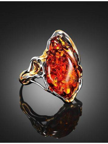 Gold-Plated Cocktail Ring With Cognac Amber The Triumph, Ring Size: Adjustable, image , picture 2