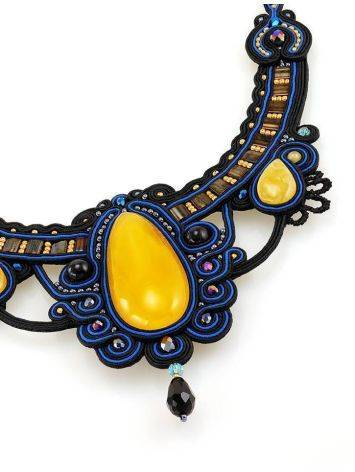 Blue Textile Braided Necklace With Honey Amber And Crystals The India, image , picture 4
