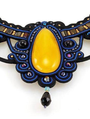 Blue Textile Braided Necklace With Honey Amber And Crystals The India, image , picture 6