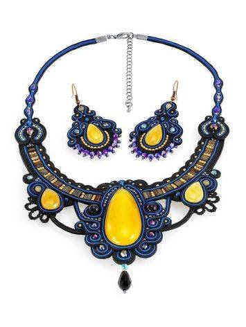 Blue Textile Braided Necklace With Honey Amber And Crystals The India, image , picture 7