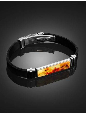 Unisex Rubber Bracelet With Bright Amber Mosaic The Grunge, image , picture 2