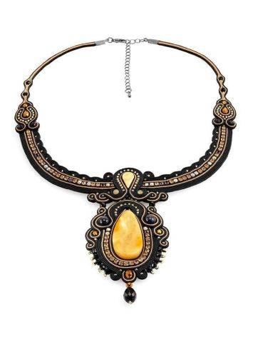 Braided Textile Necklace With Amber And Glass Beads The India, image , picture 3