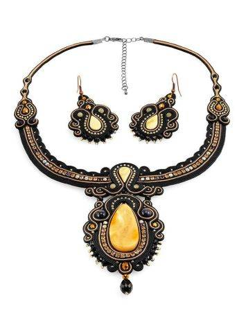 Braided Textile Necklace With Amber And Glass Beads The India, image , picture 6