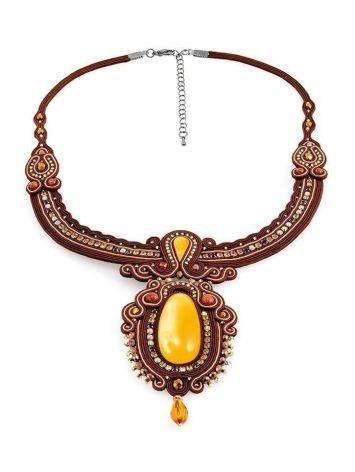 Braided Textile Necklace With Amber And Crystals The India, image , picture 4