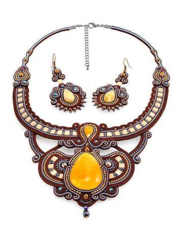 Textile Braided Necklace With Amber And Crystals The India, image , picture 6