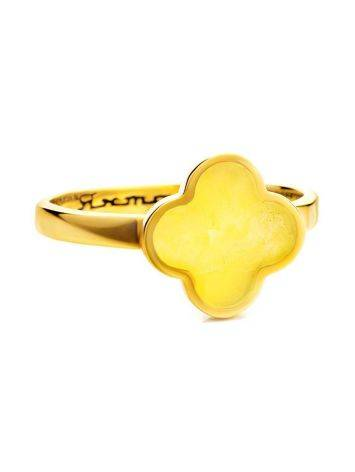 Clover Shaped Amber Ring In Gold-Plated Silver The Monaco, Ring Size: 6 / 16.5, image , picture 3