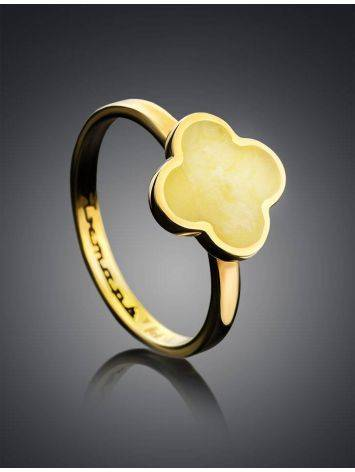 Clover Shaped Amber Ring In Gold-Plated Silver The Monaco, Ring Size: 6 / 16.5, image , picture 2