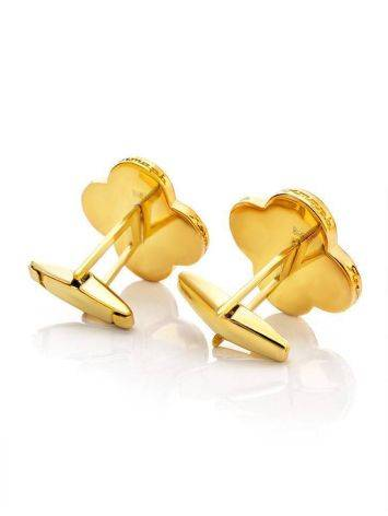 Clover Shaped Amber Cufflinks In Gold Plated Silver The Monaco, image , picture 3
