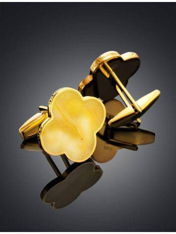Clover Shaped Amber Cufflinks In Gold Plated Silver The Monaco, image , picture 2