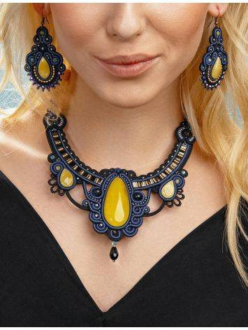 Blue Textile Braided Necklace With Honey Amber And Crystals The India, image , picture 5