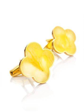 Clover Shaped Amber Cufflinks In Gold Plated Silver The Monaco, image , picture 4