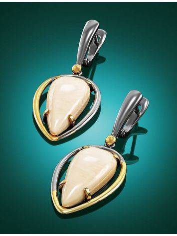 Drop Gold-Plated Earrings With Natural Mammoth Tusk The Era, image , picture 2