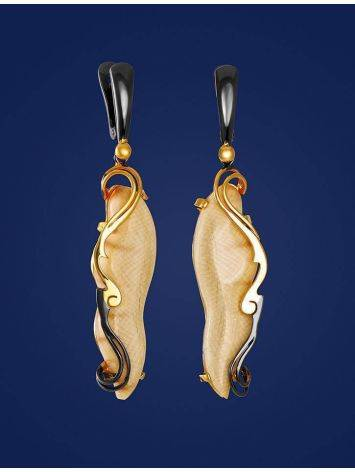 Elongated Mammoth Tusk Earrings In Gold-Plated Silver The Era, image , picture 3