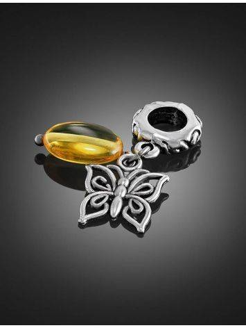 Filigree Charm With Lemon Amber The Butterfly, image , picture 2