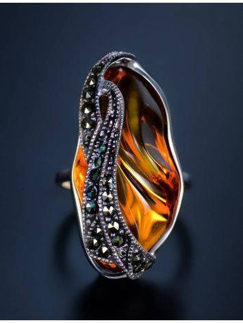 Amber Cocktail Ring With Marcasites The Colorado, image , picture 2