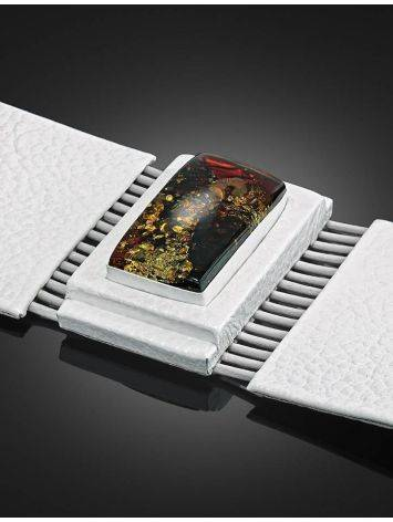 White Leather Bracelet With Square Cut Cognac Amber The Amazon, image , picture 3