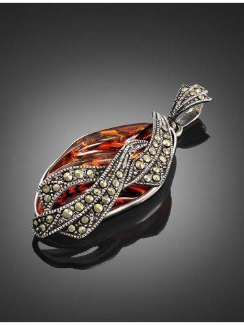 Cognac Amber Pendant In Sterling Silver With Crystals The Colorado, image , picture 2