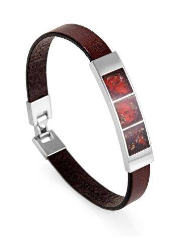 Stylish Leather Bracelet With Cherry Amber The London, image , picture 4